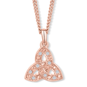 Trinity Knot Rose Gold Crystal Pendant
