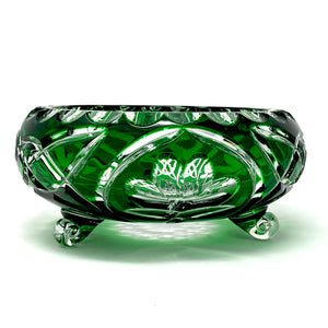 Emerald Green Shamrock 3 Leg Bowl - One of a Kind
