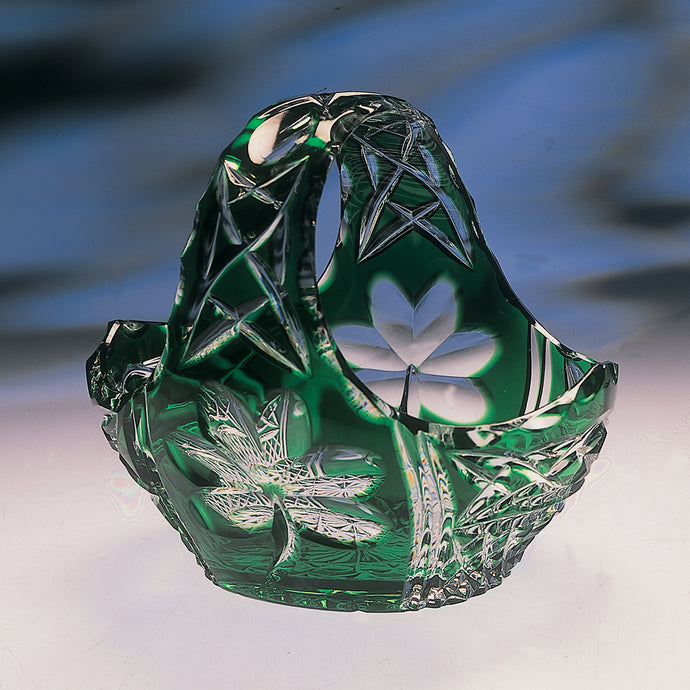 Green Crystal Shamrock Basket