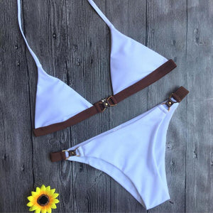Sexy White Brazilian Bikini With Rustic Side Straps COACHELLA INSPIRED