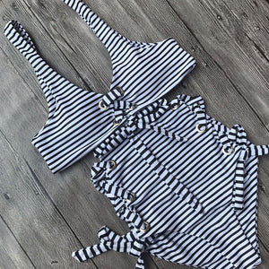 Sexy White Striped High Waist Two Piece Swimsuit