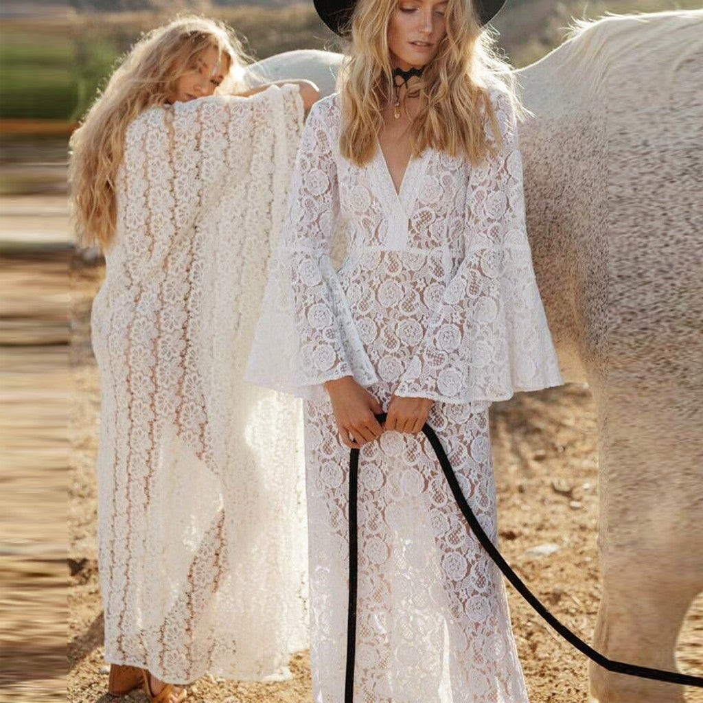 Sexy White Lace Long Sleeve Swimsuit Coverup