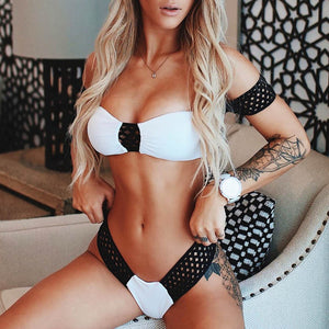 Sexy White Bikini With Black Mesh Brazilian Style Swimsuit