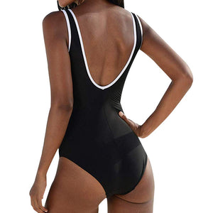 Simple Black Ruched One Piece Swimsuit