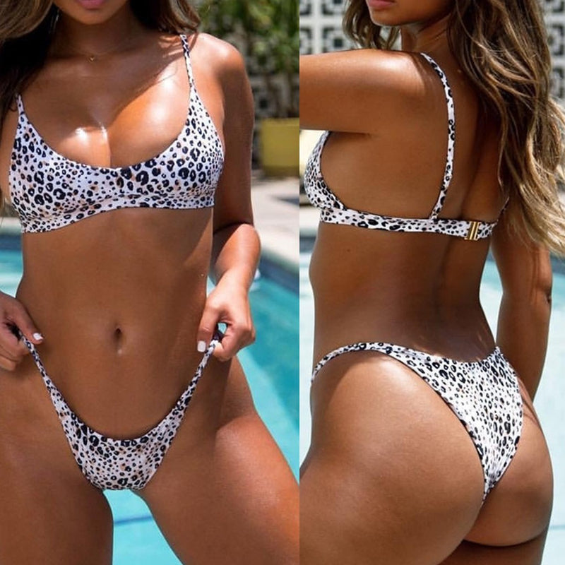 Sexy White Animal Print Cheeky Two Piece Swimsuit