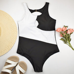 Sexy White Black Two-Tone One Piece Swimsuit