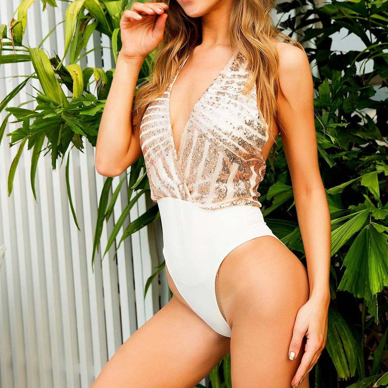 Sexy White Sequins One Piece Swimsuit
