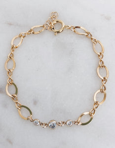 14k Gold Filled Trio CZ Figure Eight Chain Bracelet