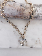 Champagne Crystal Coin Chunky Chain Necklace