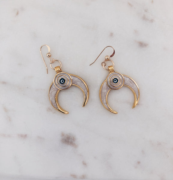 """Don't Blink"" Mother of Pearl Crescent Moon Earrings"