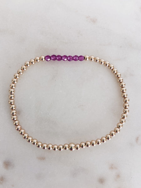 14k Gold Fill Beaded Swarovski Birthstone Crystal Bracelet