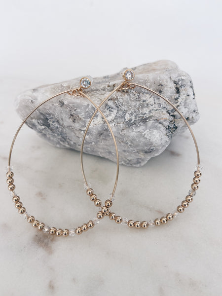 14k Gold Filled CZ Post Beaded Hoops