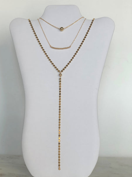 14k Gold Filled Sphere Disc Y Necklace