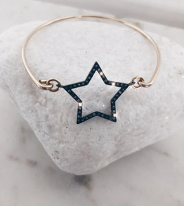 Genuine Diamond Star Cuff Bracelet