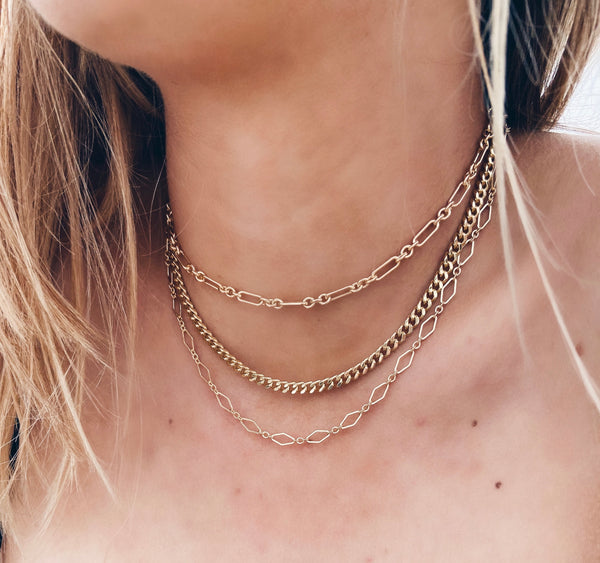 14k Gold Filled Long Diamond Link Chain Necklace