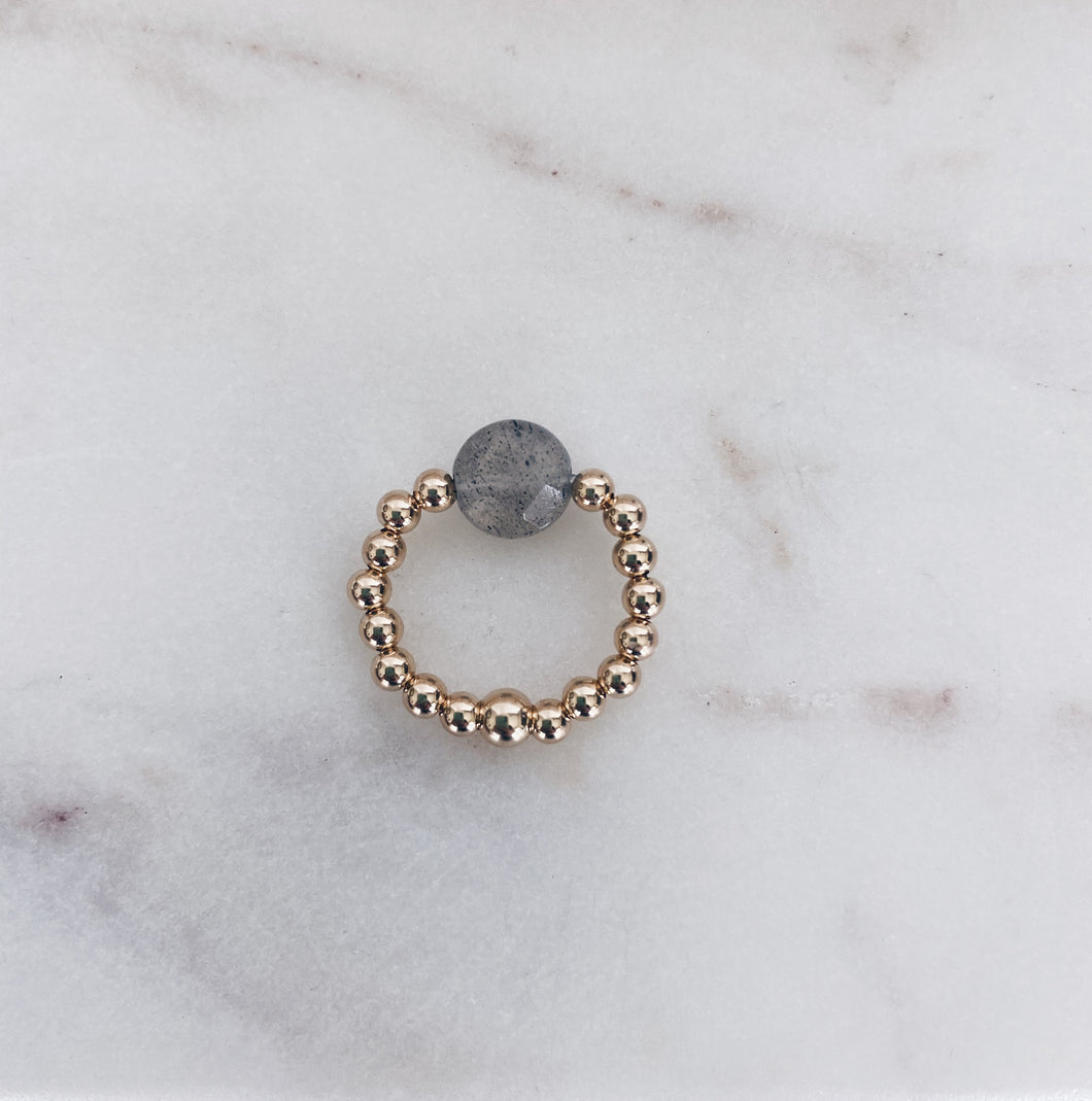 14k Gold Fill Beaded & Labradorite Coin Ring