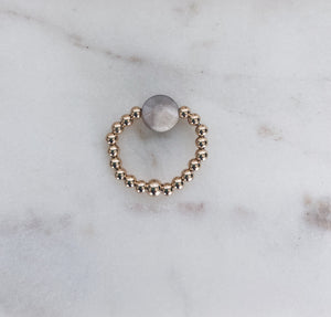 14k Gold Fill Beaded & Moonstone Coin Ring