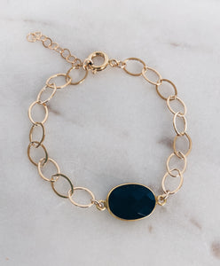 14k Gold Filled Chain & Gemstone Bracelet
