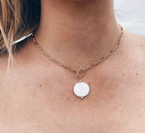 14k Gold Filled Toggle Coin Pearl Necklace