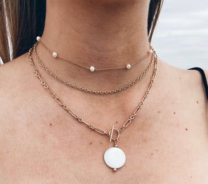 14k Gold Filled Chain & Pearl Necklace