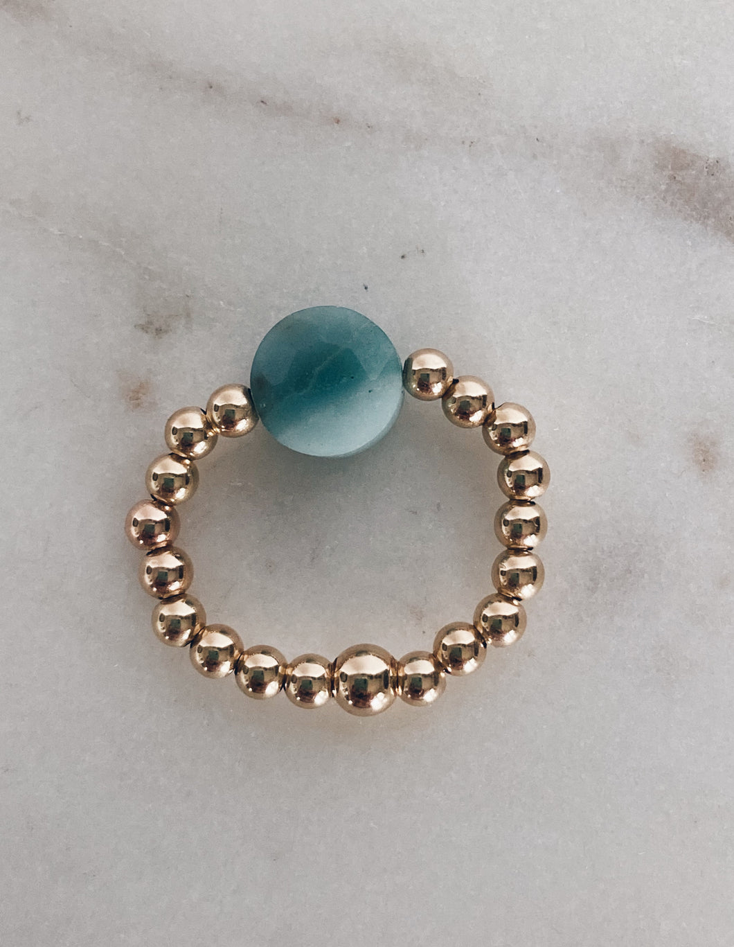 14k Gold Fill Beaded & Amazonite Coin Ring
