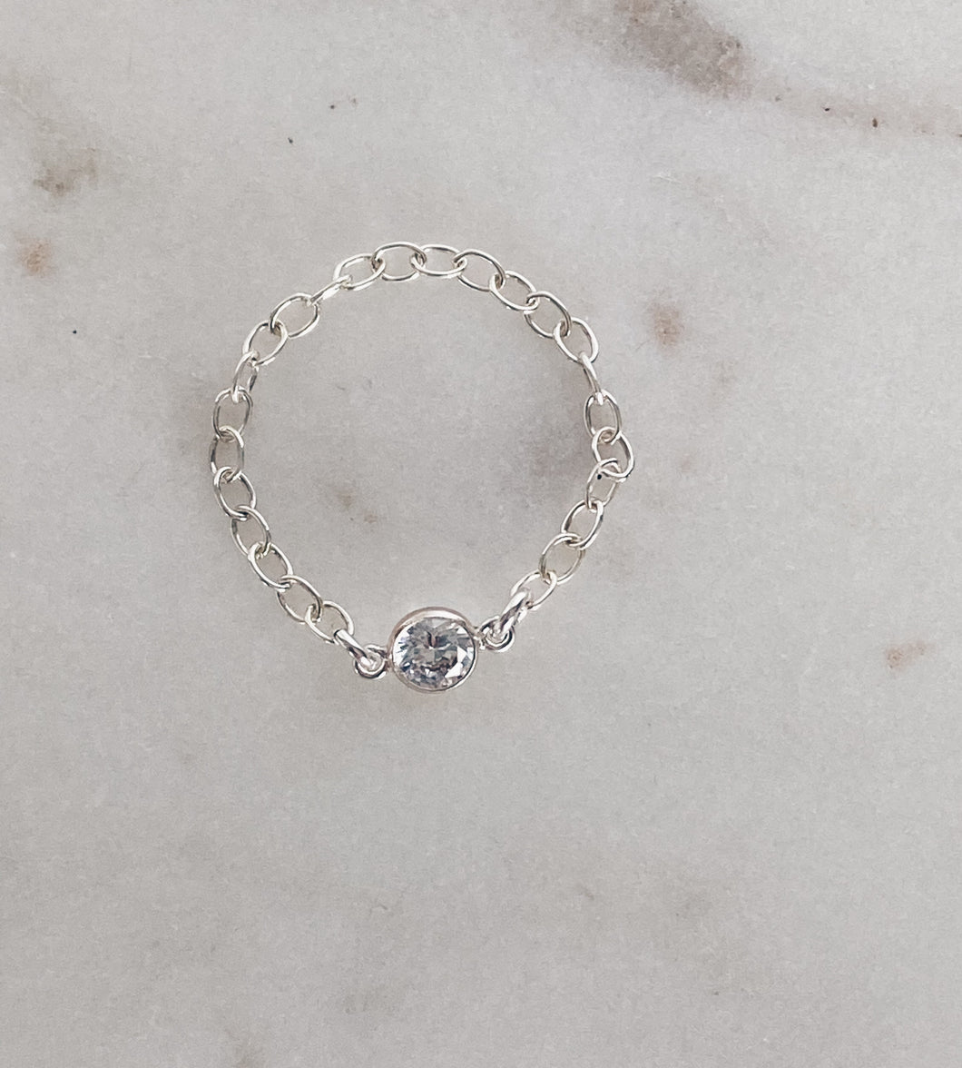 Sterling Silver Chain & CZ Ring