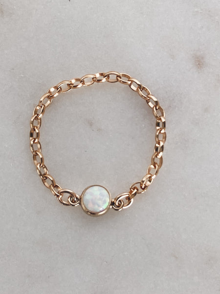 14k Gold Fill Chain & Opal Ring