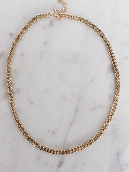 Gold Brass Curb Chain Necklace