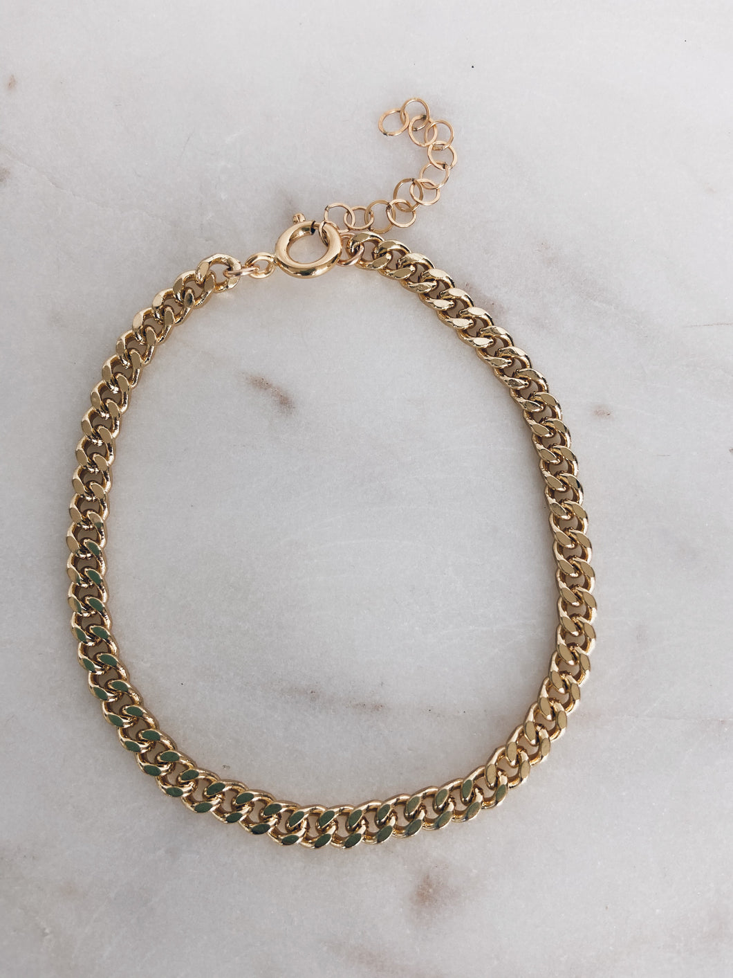 Gold Brass Curb Chain Bracelet