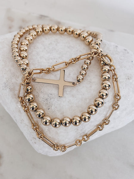 14k Gold Filled Cross Beaded Beaded Bracelet