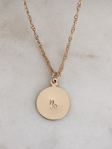 14k Gold Filled Zodiac or Initial Necklace