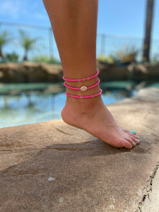 Coin Pearl & Vinyl Disc Anklet