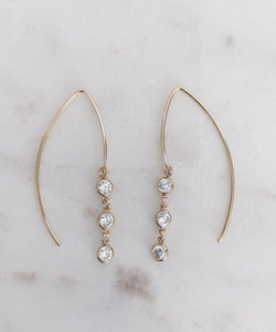 14k Gold Filled CZ Drop Hoops