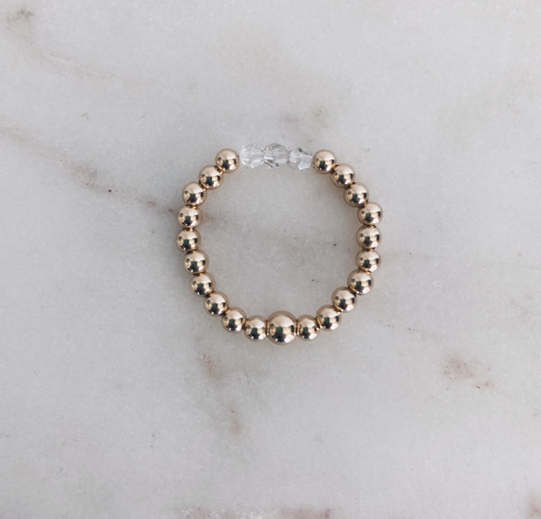 14k Gold Fill Beaded Swarovski Birthstone Crystal Ring