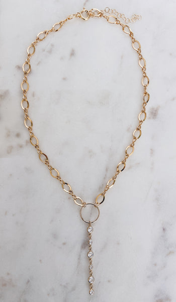 14k Gold Filled Figure Eight CZ Y Necklace