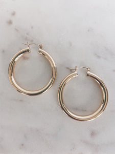 14k Gold Filled Large Chunky Hollow Hoops