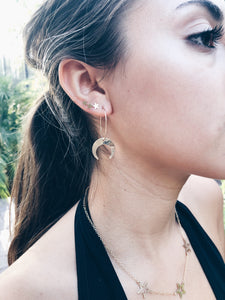 14k Gold Fill Crescent Moon Hoops