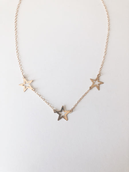 14k Gold Filled Trio Star Necklace