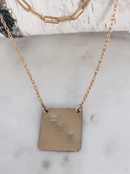 Personalized Square Charm Necklace