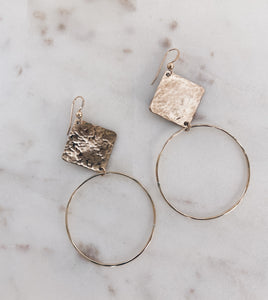 Hammered Rhombus Hoop Earrings