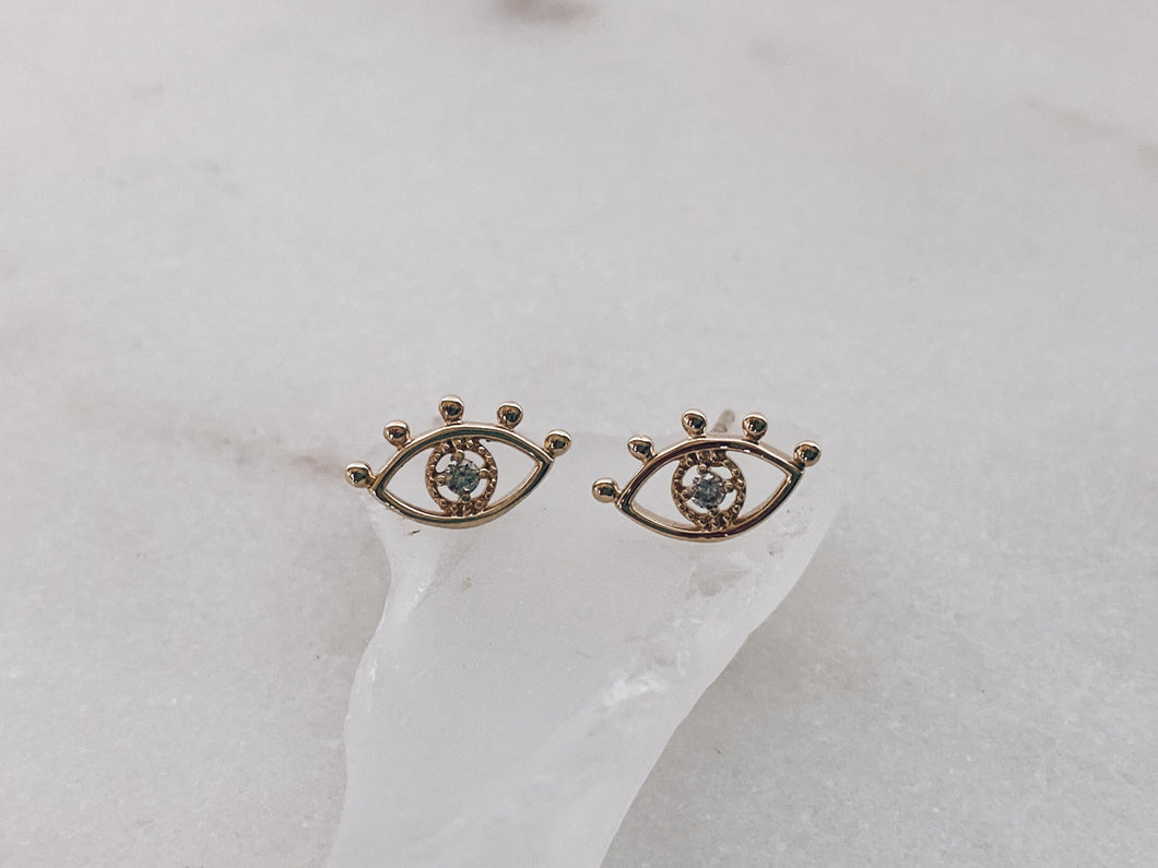 14k Gold Evil Eye Diamond Stud Earrings