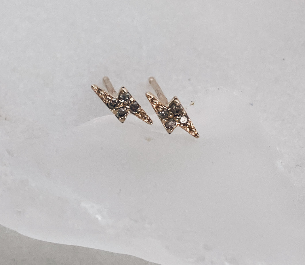 14k Gold Lightning Diamond Stud Earrings