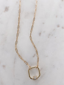 CZ Lock & Gold Filled Link Necklace