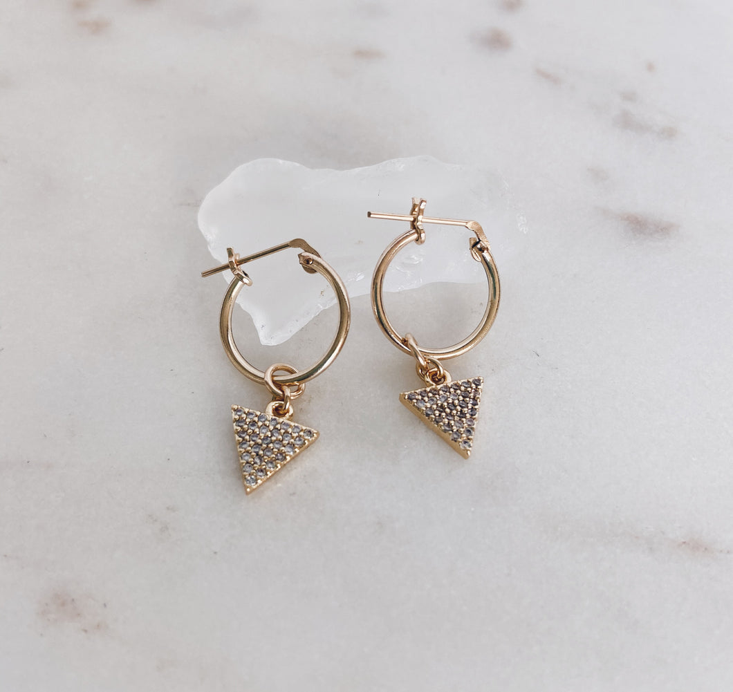 Gold Filled Huggie Hoops Mini CZ Pyramids