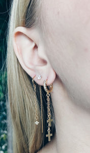 Gold CZ Huggie Hoops & Cross Drops