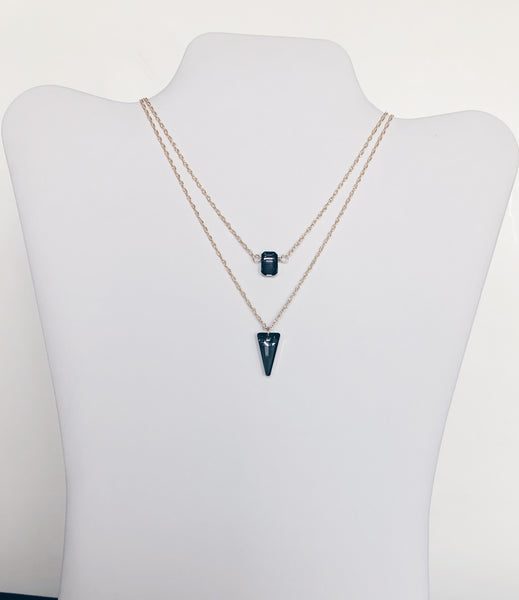 Layered Crystal Dagger Necklace