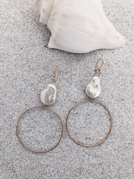 Coin Pearl Hoops