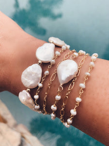 Mixed Chain Pearl Coin Wrap Bracelet