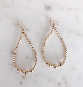 Beaded Teardrop Hoops