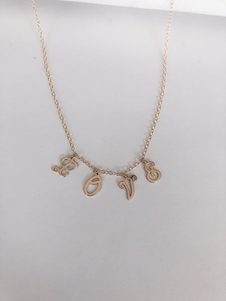 """Express Yourself"" 14k Gold Fill or Sterling Silver Script Initial Necklace"